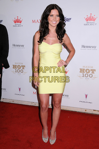 AUDRINA PATRIDGE.Maxim's Hot 100 Party 2008 at Paramount Studios, Hollywood, California, USA..May 21st, 2008.full length partridge yellow dress strapless hand on hip.CAP/ADM/BP.©Byron Purvis/AdMedia/Capital Pictures.