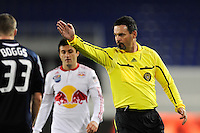 Referee Shane Moody indicates a direct free kick. The New York Red Bulls defeated the New England Revolution 3-0 during a U. S. Open Cup qualifier round match at Red Bull Arena in Harrison, NJ, on May 12, 2010.