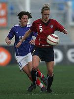 MAR 13, 2006: Faro, Portugal:  Camille Abily, Lindsay Tarpley