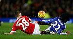Morgan Schneiderlin of Manchester United slides into Willian of Chelsea studs up which earned him a yellow card - English Premier League - Manchester Utd vs Chelsea - Old Trafford Stadium - Manchester - England - 28th December 2015 - Picture Simon Bellis/Sportimage
