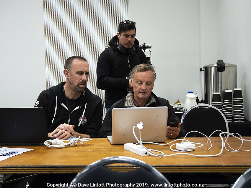 Radiosport journalist Nigel Yalden helps Coloursport's Andrew Cowie with his player ids after the Rugby Championship South Africa Springboks captain's run training session at Westpac Stadium in Wellington, New Zealand on Friday, 26 July 2019. Photo: Dave Lintott / lintottphoto.co.nz