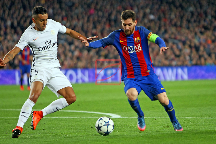 UEFA Champions League 2016/2017.<br /> Round of 16 2nd leg<br /> FC Barcelona vs Paris Saint-Germain: 6-1.<br /> Marquinhos vs Lionel Messi.