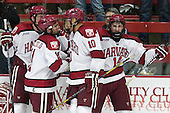 Dan Ford (Harvard - 5), Kyle Criscuolo (Harvard - 11), Brayden Jaw (Harvard - 10), Alexander Kerfoot (Harvard - 14) - The Harvard University Crimson defeated the visiting Bentley University Falcons 3-0 on Saturday, October 26, 2013, in Harvard's season opener at Bright-Landry Hockey Center in Cambridge, Massachusetts.