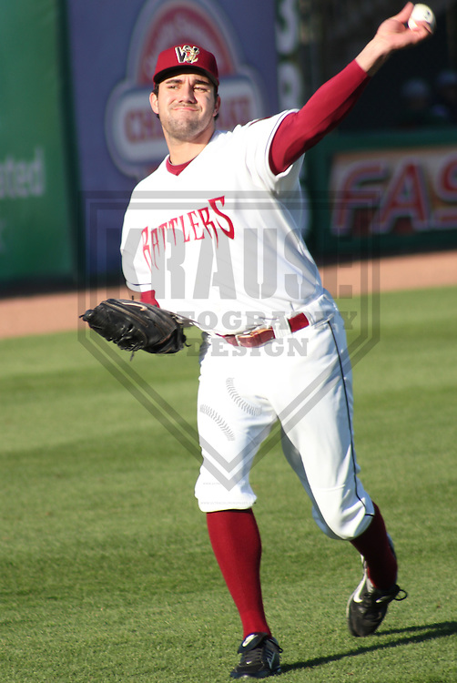 APPLETON - MAY 2011: Zach Braddock (34) of the Wisconsin Timber Rattlers, Class-A affiliate of the Milwaukee Brewers, during a game on May 17, 2011 at Fox Cities Stadium in Appleton, Wisconsin. (Photo by Brad Krause) ........