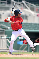GCL Red Sox outfielder Jordon Austin (40) at bat during a game against the GCL Rays on June 25, 2014 at JetBlue Park at Fenway South in Fort Myers, Florida.  GCL Red Sox defeated the GCL Rays 7-0.  (Mike Janes/Four Seam Images)