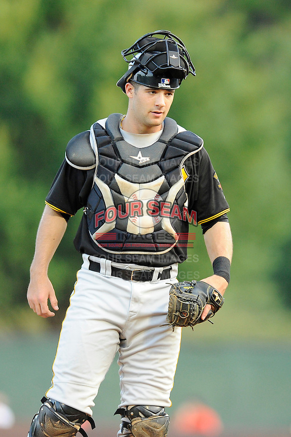 Catcher Chris Harvey (39) of the Bristol Pirates in a game against the Greeneville Astros on Friday, July 25, 2014, at Pioneer Park in Greeneville, Tennessee. Greeneville won, 9-4. (Tom Priddy/Four Seam Images)