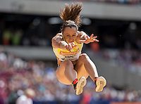Jessica ENNIS-HILL of GBR  competes in the Long Jump during the Sainsburys Anniversary Games at the Olympic Park, London, England on 25 July 2015. Photo by Andy Rowland.