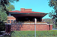 F.L. Wright: Robie House, Dearborn Street.  Photo '76.