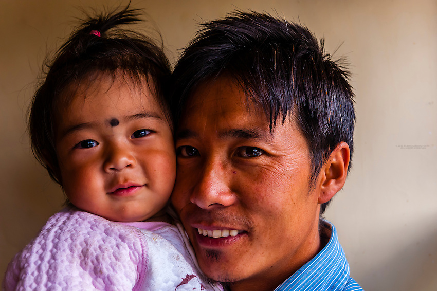 A father and daughter in Tangtse, Ladakh, Jammu and Kashmir State, India.