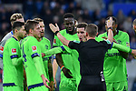 01.12.2018, wirsol Rhein-Neckar-Arena, Sinsheim, GER, 1 FBL, TSG 1899 Hoffenheim vs FC Schalke 04, <br /> <br /> DFL REGULATIONS PROHIBIT ANY USE OF PHOTOGRAPHS AS IMAGE SEQUENCES AND/OR QUASI-VIDEO.<br /> <br /> im Bild: Sebastian Rudy (FC Schalke 04 #13), Guido Burgstaller (FC Schalke 04 #19), Bastian Oczipka (FC Schalke 04 #24), Salif Sane (FC Schalke 04 #26), Haji Wright (FC Schalke 04 #40), Nabil Bentaleb (FC Schalke 04 #10) diskutieren nach dem Elfmeterpfiff mit Schiedsrichter Dr. Robert Kampka<br /> <br /> Foto &copy; nordphoto / Fabisch