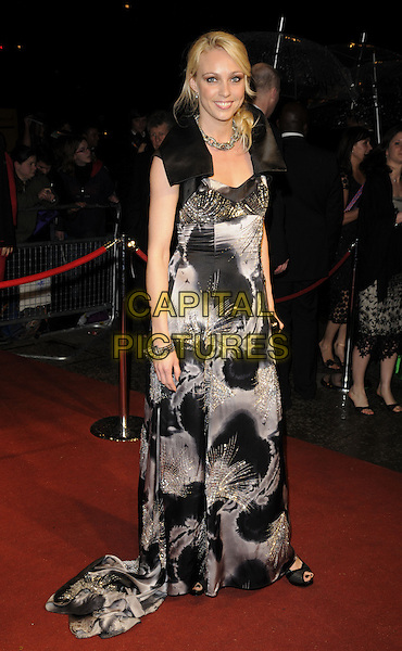 CAMILLA DALLERUP.The British Academy Television Awards 2008 after party held at the Grosvenor House Hotel, London, England..April 20th 2008. .BAFTA BAFTA's full length black white grey gray silver pattern print dress cropped jacket .CAP/CAN.©Can Nguyen/Capital Pictures.