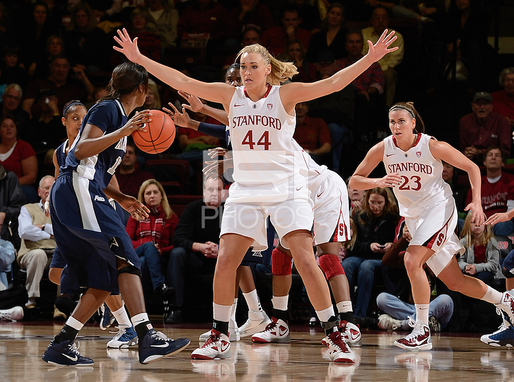 STANFORD, CA - DECEMBER 28: Joslyn Tinkle (44) of Stanford women's basketball on defense in a game against Xavier on December 28, 2010 at Maples Pavilion in Stanford, California.  Stanford topped Xavier, 89-52.