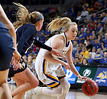 SIOUX FALLS, SD: MARCH 5: Madison Guebert #11 from South Dakota State University drives to the basket against Oral Roberts during the Summit League Basketball Championship on March 5, 2017 at the Denny Sanford Premier Center in Sioux Falls, SD. (Photo by Dave Eggen/Inertia)