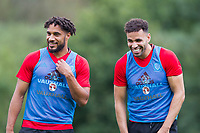 Ashley Williams and Hal Robson-Kanu share a joke during Wales national team training at Vale Resort, Hensol, Wales on 4 September 2017, ahead of the side's World Cup Qualification match against Moldova. Photo by Mark  Hawkins.