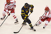 Dante Fabbro (BU - 17), Mathieu Tibbet (Merrimack - 22), Patrick Harper (BU - 21) - The visiting Merrimack College Warriors defeated the Boston University Terriers 4-1 to complete a regular season sweep on Friday, January 27, 2017, at Agganis Arena in Boston, Massachusetts.The visiting Merrimack College Warriors defeated the Boston University Terriers 4-1 to complete a regular season sweep on Friday, January 27, 2017, at Agganis Arena in Boston, Massachusetts.