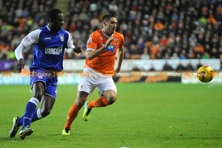 Bradley Orr of Blackpool vies for the ball with Frank Nouble of Ipswich Town - Blackpool vs Ipswich Town - Sky Bet Championship Football at Bloomfield Road, Blackpool, Lancashire - 09/11/13 - MANDATORY CREDIT: Greig Bertram/TGSPHOTO - Self billing applies where appropriate - 0845 094 6026 - contact@tgsphoto.co.uk - NO UNPAID USE
