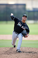 GCL Marlins relief pitcher Joe Strzelecki (35) delivers a pitch during a game against the GCL Astros on August 5, 2018 at FITTEAM Ballpark of the Palm Beaches in West Palm Beach, Florida.  GCL Astros defeated GCL Marlins 2-1.  (Mike Janes/Four Seam Images)