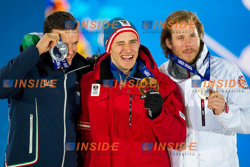 09.02.2014; Sochi Olimpiadi Invernali<br /> Premiazione Discesa Libera Uomini <br /> Christof Innerhofer (ITA) Medaglia d'argento <br /> Matthias Mayer (AUT) Medaglia d'oro<br /> Kjetil Jansrud (NOR) Medaglia di Bronzo <br /> Foto Urs Lindt/freshfocus/Insidefoto