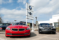 New cars at the BMW of Dallas, an AutoMotion Company, car dealership in Dallas, Texas, Thursday, February 17, 2011. Auto sales are going up because financing for auto loans has become available again...Photo by Matt Nager