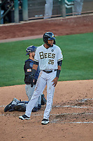 Jo Adell (26) of the Salt Lake Bees during the game against the El Paso Chihuahuas at Smith's Ballpark on August 17, 2019 in Salt Lake City, Utah. The Bees defeated the Chihuahuas 5-4. (Stephen Smith/Four Seam Images)