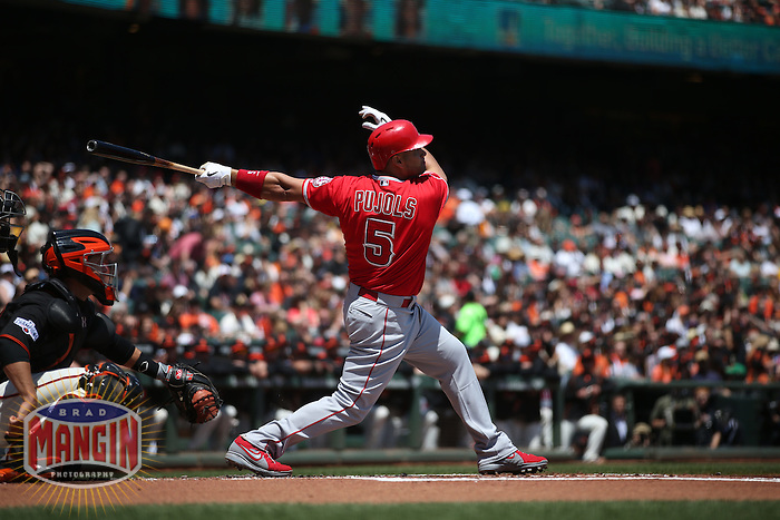 SAN FRANCISCO, CA - MAY 2:  Albert Pujols #5 of the Los Angeles Angels bats against the San Francisco Giants during the game at AT&T Park on Saturday, May 2, 2015 in San Francisco, California. Photo by Brad Mangin