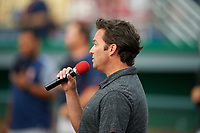 Batavia Muckdogs national anthem performance before a NY-Penn League game against the Lowell Spinners on July 11, 2019 at Dwyer Stadium in Batavia, New York.  Batavia defeated Lowell 5-2.  (Mike Janes/Four Seam Images)