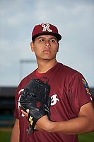 Frisco RoughRiders pitcher Ariel Jurado (17) poses for a photo before a game against the Arkansas Travelers on May 26, 2017 at Dickey-Stephens Park in Little Rock, Arkansas.  Arkansas defeated Frisco 4-2.  (Mike Janes/Four Seam Images)