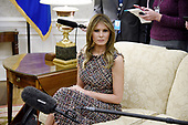 First lady Melania Trump looks on during a meeting with Prime Minister Prayut Chan-o-cha and Madam Chan-o-Cha of Thailand in the Oval Office of the White House in Washington, DC, October 2, 2017. <br /> Credit: Olivier Douliery / Pool via CNP