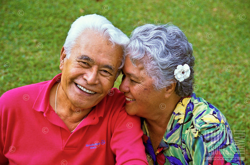 Affectionate senior Hawaiian man and part-Hawaiian woman