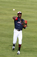 Jackson Generals shortstop Jazz Chisholm (3) warms up prior to a Southern League game against the Biloxi Shuckers on June 14, 2019 at The Ballpark at Jackson in Jackson, Tennessee. Jackson defeated Biloxi 4-3. (Brad Krause/Four Seam Images)