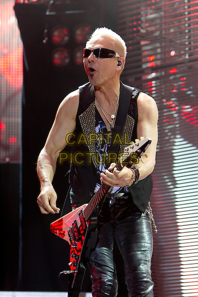 """Scorpions - Rudolf Schenker.Farewell Russian round 'Scorpions', """"Olympic"""", Moscow, Russia..May 26th, 2011.on stage in live gig performance performing music half length black waistcoat guitar sunglasses shades   .CAP/PER/SB.©SB/PersonaStars/CapitalPictures"""