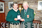 Ref Sylvester H..Mike Murphy winner of the Captains Prize at Waterville Golf Club being presented with his silver medal by the Captains Hugh Mullins.