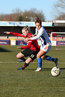 Leah Galton of Manchester United Women and Fliss Gibbons of Brighton & Hove Albion Women during Brighton & Hove Albion Women vs Manchester United Women, SSE Women's FA Cup Football at Broadfield Stadium on 3rd February 2019