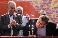 SAO PAULO, SP, 22.05.2015 - LULA-SP -  O presidente Nacional do PT, Rui Falcão, junto com o presidente do PT em São Paulo, Emidio de Souza, durante a abertura da etapa estadual de São Paulo do 5º Congresso do Partido dos Trabalhadores na quadra dos Bancários, na região central de São Paulo, SP, nesta sexta-feira, 22. (Foto: Fernando Neves/ Brazil Photo Press)