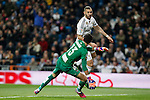 Real Madrid´s Karim Benzema (B) and Levante´s goalkeeper Marino during La Liga match at Santiago Bernabeu stadium in Madrid, Spain. March 15, 2015. (ALTERPHOTOS/Victor Blanco)