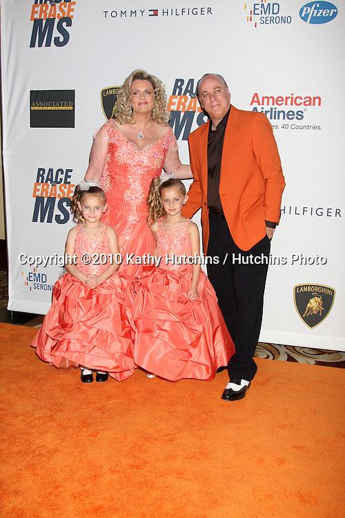 Nancy Davis, husband Ken Rickel, twins Isabella and Mariella.arrives at the 17th Race To Erase MS Gala.Century Plaze Hotel.Century City, CA.May 7, 2010.©2010 Kathy Hutchins / Hutchins Photo...