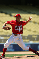 August 9 2008: Ian Kroll participates in the Aflac All American baseball game for incoming high school seniors at Dodger Stadium in Los Angeles,CA.  Photo by Larry Goren/Four Seam Images