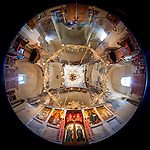 Fisheye view of the ceiling and walls within  the Church of the Ascension of Jesus Christ at the Monastery Mileševa, Serbia originally built in the 13th century.