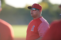 Brian Betancourth coaches for the Tigers during the Under Armour Baseball Factory Recruiting Classic at Gene Autry Park on December 27, 2017 in Mesa, Arizona. (Zachary Lucy/Four Seam Images)