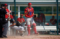 Philadelphia Phillies catcher Nick Matera (7) shows the ball after tagging Mason Fishback (64) out at home during a minor league Spring Training game against the Pittsburgh Pirates on March 13, 2019 at Pirate City in Bradenton, Florida.  (Mike Janes/Four Seam Images)