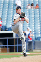 May 13, 2010 Starting Pitcher Daniel Osterbrock of the Fort Myers Miracle, Florida State League Class-A affiliate of the Minnesota Twins, delivers a pitch during a game at George M. Steinbrenner Field in Tampa, FL. Photo by: Mark LoMoglio/Four Seam Images