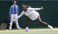 Serena Williams (USA) during her match against Julia Goerges (GER) in their Ladies' Semi-Final match<br /> <br /> Photographer Rob Newell/CameraSport<br /> <br /> Wimbledon Lawn Tennis Championships - Day 10 - Thursday 12th July 2018 -  All England Lawn Tennis and Croquet Club - Wimbledon - London - England<br /> <br /> World Copyright &copy; 2017 CameraSport. All rights reserved. 43 Linden Ave. Countesthorpe. Leicester. England. LE8 5PG - Tel: +44 (0) 116 277 4147 - admin@camerasport.com - www.camerasport.com