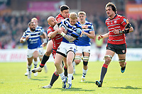 Tom Homer of Bath Rugby takes on the Gloucester Rugby defence. Gallagher Premiership match, between Gloucester Rugby and Bath Rugby on April 13, 2019 at Kingsholm Stadium in Gloucester, England. Photo by: Patrick Khachfe / Onside Images