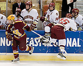 Jay Barriball (Minnesota - 26), Matt Price (BC - 25) - Nate Gerbe (BC - 9), Ben Smith (BC - 12), Matt Greene (BC - 14), Andrew Orpik (BC - 27) - The Boston College Eagles defeated the University of Minnesota Golden Gophers 5-2 on Saturday, March 29, 2008, in the NCAA Northeast Regional Semi-Final at the DCU Center in Worcester, Massachusetts.