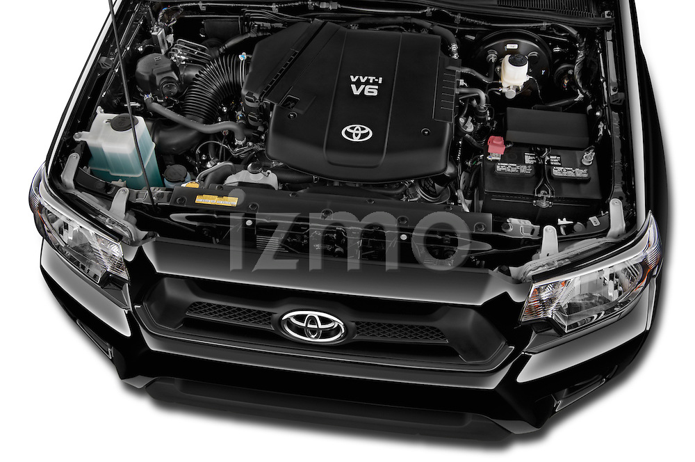 Car Stock 2015 Toyota Tacoma PreRunner 4 Door Pick up Engine high angle detail view