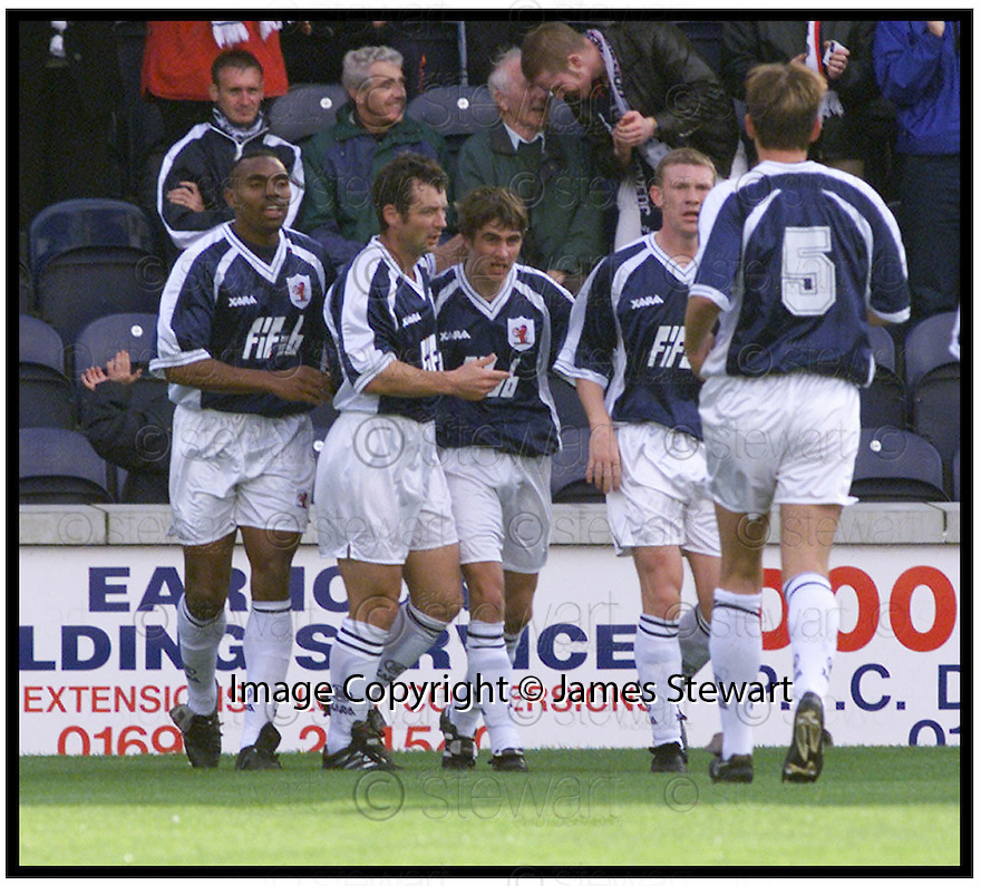 2nd October 99                         Copyright Pic : James Stewart .Ref :   990365                          .File Name : stewart01-raith rovers v falkirk                       .CRAIG DARGO (THIRD RIGHT) IS CONGRATULATED BY DIDIER AGATHE , KENNY BLACK AND PAUL BROWNE AFTER SCORING RAITH'S FIRST GOAL.......Payments to :-.James Stewart Photo Agency, Stewart House, Stewart Road, Falkirk. FK2 7AS      Vat Reg No. 607 6932 25.Office : 01324 630007        Mobile : 0421 416997.E-mail : JSpics@aol.com.If you require further information then contact Jim Stewart on any of the numbers above.........