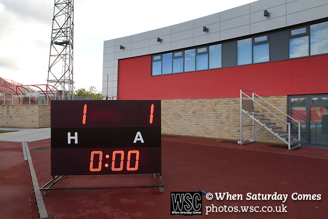 Gateshead 1 Cambridge United 1, 17/09/2011. Gateshead International Stadium, Football Conference. The electronic scoreboard gives the final score at the Gateshead International Stadium, the athletics stadium which is also the home ground of Gateshead FC, as the club play host to Cambridge United in a Blue Square Bet Premier division fixture. The match ended in a one-all draw, watched by a crowd of 904. The point meant Gateshead went to the top of the division, one below the Football League in England. Photo by Colin McPherson.