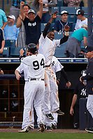 New York Yankees Tyler Wade (94) celebrates with Jorge Mateo during a Spring Training game against the Detroit Tigers on March 2, 2016 at George M. Steinbrenner Field in Tampa, Florida.  New York defeated Detroit 10-9.  (Mike Janes/Four Seam Images)