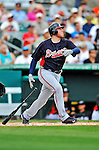 13 March 2012: Atlanta Braves first baseman Freddie Freeman in action during a Spring Training game against the Miami Marlins at Roger Dean Stadium in Jupiter, Florida. The two teams battled to a 2-2 tie playing 10 innings of Grapefruit League action. Mandatory Credit: Ed Wolfstein Photo