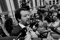 Matteo Salvini al termine del vertice a Palazzo Chigi